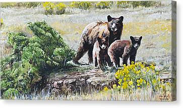 Canvas Print featuring the painting Prairie Black Bears by Aaron Spong