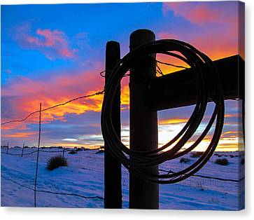 Prairie Fence Sunset Canvas Print