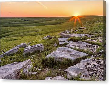 Canvas Print featuring the photograph Prairie Rocks by Scott Bean