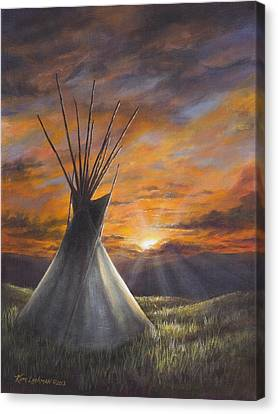 Canvas Print featuring the painting Prairie Sunset by Kim Lockman