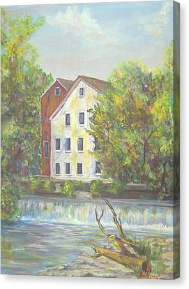 Prallsville Mill From Waterfall Canvas Print by Luczay