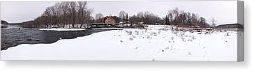 Prallsville Mills And Waterfalls - Stockton New Jersey Panorama Canvas Print by Bill Cannon