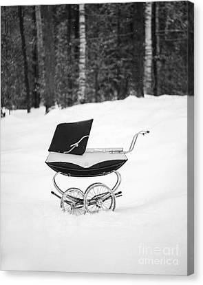 Pram In The Snow Canvas Print by Edward Fielding