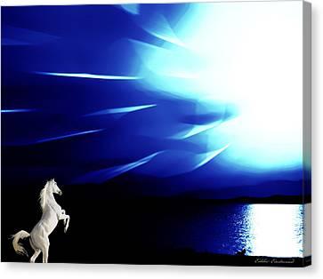 Prancing In The Night Canvas Print by Eddie Eastwood