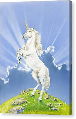 Unicorns Canvas Print - Prancing Unicorn by Irvine Peacock