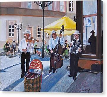 Praque Street Musicians Canvas Print by Donna Munsch