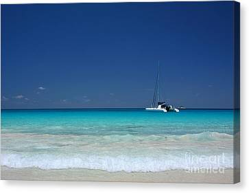 Praslin Island Catamaran Canvas Print