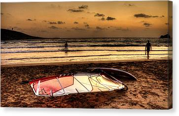 Canvas Print featuring the photograph Prasonisi - A Day Of Windsurfing Is Over by Julis Simo