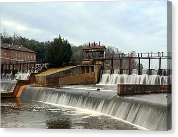 Canvas Print featuring the photograph Prattville Dam Prattville Alabama by Charles Beeler
