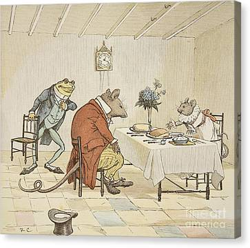 Pray Miss Mouse Will You Give Us Some Beer Canvas Print by Randolph Caldecott