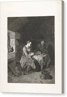 Prayer Before Meals, Bega Friedrich Wilhelm Burmeister Canvas Print