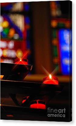 Prayer Candles Trinity Cathedral Pittsburgh Canvas Print by Amy Cicconi