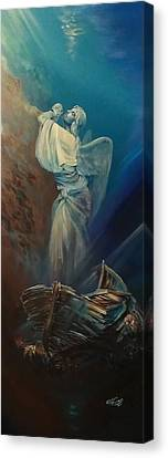 Prayer For The Seas Canvas Print by Ottilia Zakany