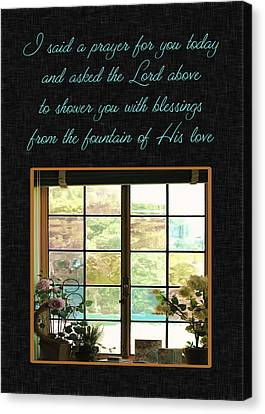 Christian Poetry Canvas Print - Prayer For You Card by Carolyn Marshall