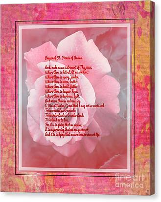 Prayer Of St. Francis And Pink Rose Canvas Print by Barbara Griffin