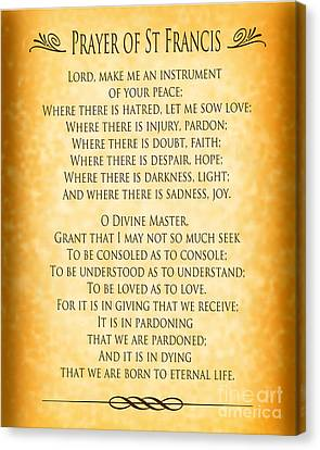 Prayer Of St Francis - Pope Francis Prayer - Gold Parchment Canvas Print