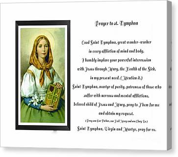 Prayer To St. Dymphna Canvas Print by Barbara Griffin