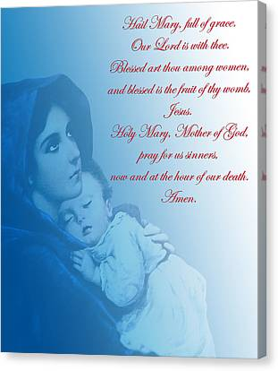 Canvas Print featuring the digital art Prayer To Virgin Mary 2 by A Samuel