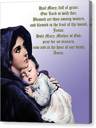 Canvas Print featuring the digital art Prayer To Virgin Mary 3 by A Samuel