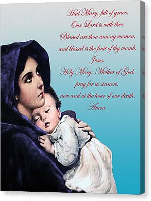 Canvas Print featuring the digital art Prayer To Virgin Mary by A Samuel