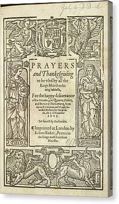 Prayers And Thanksgiving Canvas Print by British Library