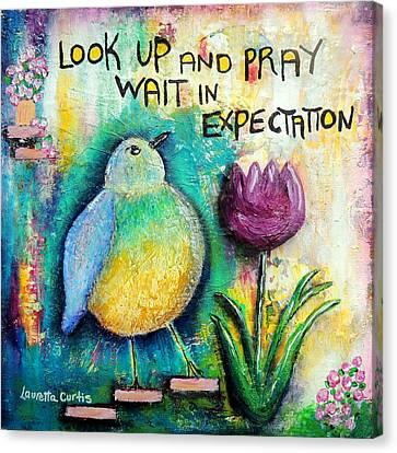 Praying And Waiting Bird Canvas Print by Lauretta Curtis