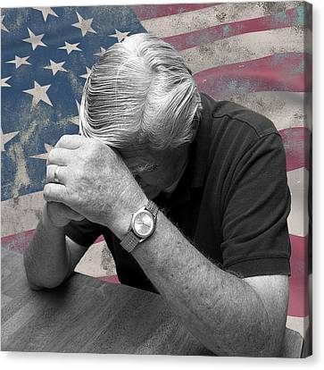 Concern Canvas Print - Praying For America by Trudy Wilkerson