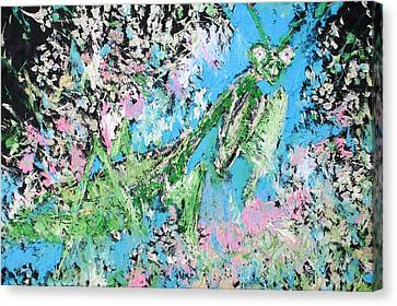 Praying Mantis In The Flowers - Oil Painting Canvas Print by Fabrizio Cassetta