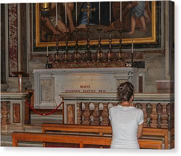 Praying To Pope John Paul II  Canvas Print by Allan Levin