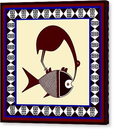 Pre-columbian Stork Fish Canvas Print by Vagabond Folk Art - Virginia Vivier