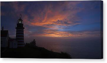 Pre Dawn Lighthouse Sentinal Canvas Print by Marty Saccone