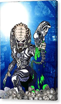Predator Vs Alien To Be Or Not To Be Canvas Print by Michael Dijamco