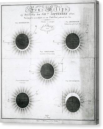 Solar Eclipse Canvas Print - Predicted Annular Solar Eclipse Of 1820 by Royal Astronomical Society
