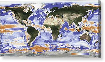 Predicted Fishery Catch Changes By 2050 Canvas Print