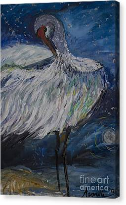 Canvas Print featuring the painting Preening Crane by Avonelle Kelsey