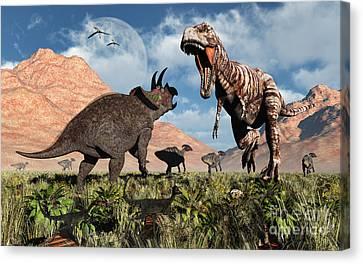Prehistoric Battle Canvas Print by Mark Stevenson