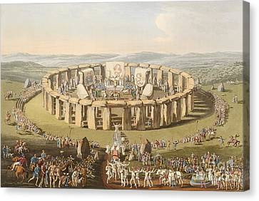 Prehistoric Festival At Stonehenge Canvas Print by British Library