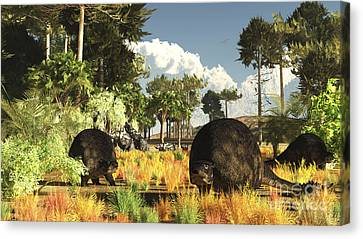 Prehistoric Glyptodonts Graze On Grassy Canvas Print by Arthur Dorety