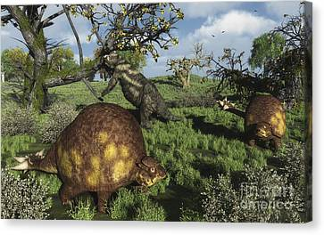 Prehistoric Glyptodonts Graze On Grassy Canvas Print by Walter Myers
