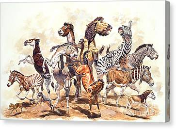 Prehistoric Horses Canvas Print by Mark Hallett Paleoart