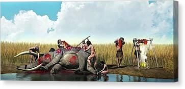 Prehistoric Hunting Canvas Print