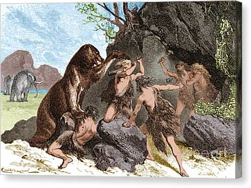 Prehistoric Men Battle Cave Bear Canvas Print