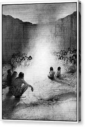 Prehistoric Tribe Around A Fire Canvas Print