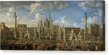 Preparation For The Firework Display Held At Piazza Navona, Rome, To Celebrate The Birth Canvas Print by Giovanni Paolo Pannini or Panini
