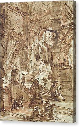 Preparatory Drawing For Plate Number Viii Of The Carceri Al'invenzione Series Canvas Print by Giovanni Battista Piranesi
