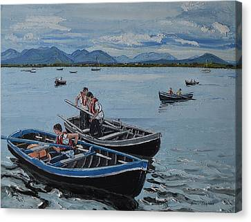 Preparing For The Currach Race Roundstone Ireland Canvas Print by Diana Shephard