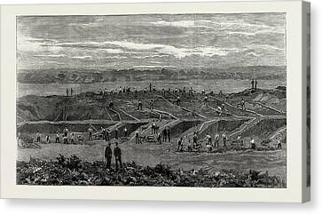 Preparing The New Wimbledon, Uk, 1889 Bisley Common Canvas Print by Litz Collection