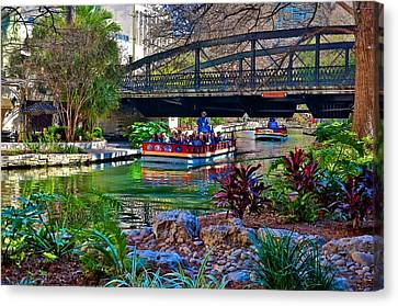 Canvas Print featuring the photograph Presa Street Bridge Over Riverwalk by Ricardo J Ruiz de Porras