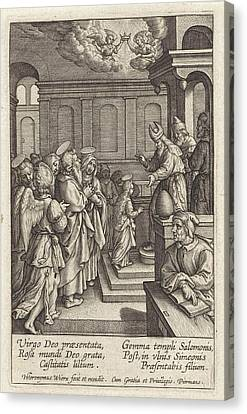 Presentation Of Mary In The Temple, Print Maker Hieronymus Canvas Print by Hieronymus Wierix