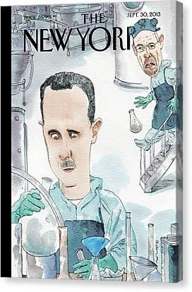President Assad Cooks Up A Chemical Cocktail Canvas Print by Barry Blitt